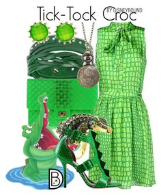 """""""Tick-Tock Croc"""" by leslieakay ❤ liked on Polyvore featuring West Coast Jewelry, 2 Di Picche Recycled, Moschino Cheap & Chic, CZ by Kenneth Jay Lane, Style & Co., disney, disneybound and disneycharacter"""
