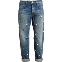 TU ES MON TRESOR Pearl Embellished Boyfriend Jeans ($700) ❤ liked on Polyvore featuring jeans, pants, bottoms, denim, blue jeans, embellish jeans, boyfriend fit jeans, 5 pocket jeans and boyfriend jeans