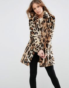 Image 1 ofGlamorous Shawl Collar Coat In Large Scale Leopard Faux Fur