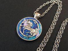 Halskette mit Einhorn Fantasy blau rosa silber Fimo Schmuck