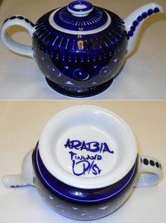 Valencia Arabia Little Tea Kettle Boiler Hand Painting Ulla Procope Sign Finland
