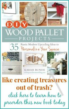 a new DIY book with 35 tutorials for wood pallet projects, including all the necessary details about finding pallets, taking them apart and what other options you have if you don't want to go through the trouble of dismanteling a pallet