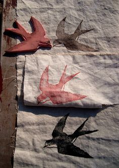 rubber stamps on fabric / swallows