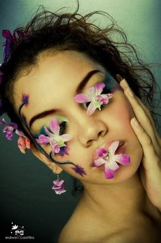 Face the flowers.