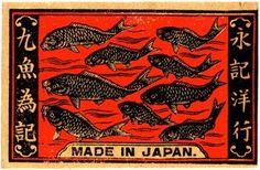 Matchbox Label. Made in Japan. Fish swimming. PSAW ephemera collection.