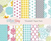 Digital paper pack floral bright pink blue yellow grey Instant Download - printable, scrapbook, DIY - Elizabeth
