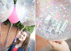 Zusammen mit bunten Konfettis im Ballon machen diese Geldscheine gleich eine viel bessere Figur.