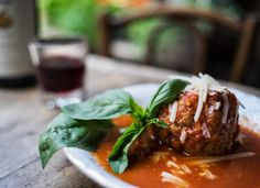 The homemade meatballs in four-hour sauce. (Photo: Todd Heisler/The New York Times)