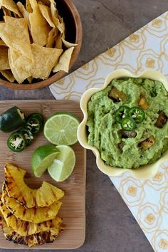 Grilled pineapple guacamole, perfect with nachos!