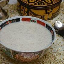 Moroccan Barley Soup with Milk - A Light Meal or Satisfying Breakfast: Hssoua Belboula - Barley (belboula) is a common grain in Morocco, and used to make soups, breads and even couscous. In this recipe, barley grits are cooked until tender with olive oil and cumin. Milk, butter, evaporated milk are added at the end of cooking to richen the soup, give it a creamy quality.