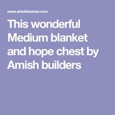 This wonderful Medium blanket and hope chest by Amish builders