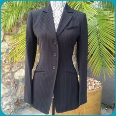 """✨HOST PICK✨AK Anne Klein jacket ✨HOST PICK by @lwschlprncss """"WORK WEEK CHIC"""" PARTY 04/22/15✨ Classic Style , Gorgeous black w/ blue stripe fabric, quality made, 2 front faux pockets & 1 faux breast pocket, 3 button front. AK Anne Klein Jackets & Coats"""