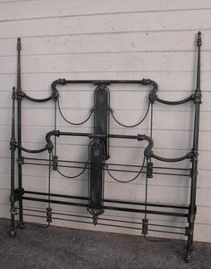 "Beautiful ""art panel"" bed with extremely detailed castings and rare ""tapered"" four poster design. circa 1845 #ironbeds #antiqueironbeds"