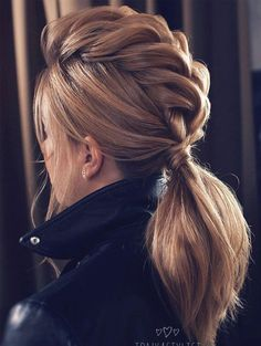 No fuss updo! No need to go all out this Valentine's Day and do some crazy-complicated hairstyle. these gorgeous ponytail hairstyles are also perfect for wedding, modern but at the same time elegant, a ponytail with wispy bangs in the perfect choice #weddinghairstyles