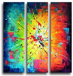 Prachtig drieluik schilderij waarbij de kunstschilder een ware kleurenexplosie heeft gemaakt op de drie verticale canvasdoeken.Het abstracte schilderij voelt zich het beste thuis in een modern interieur.