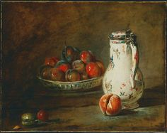 From Phillips Collection, Jean-Siméon Chardin, A Bowl of Plums (ca. 1728), Oil on canvas, 17 1/2 × 22 13/100 in