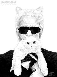 Karl Largerfeld | Fashion Illustration | Cat | Kitty Ears