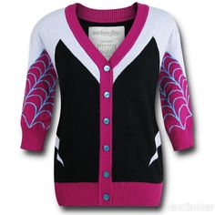 The cotton Spider Gwen Sleeve Women's Cardigan is based on the Spider-Man variation where Gwen Stacy became Spider-Man instead of Peter Parker! Marvel Fashion, Spider Gwen, Fandom Fashion, Cool Style, My Style, Cool Jackets, Girl Fashion, Gwen Stacy, Hoodies