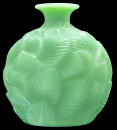 "RENE LALIQUE CASED JADE GREEN GLASS ""ORMEAUX"" VASE Model introduced 1926. Signed R. Lalique France, and numbered 984."