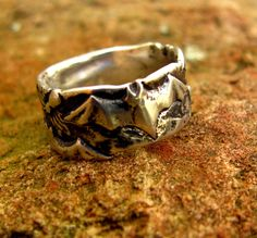 Bat and Spider Ring in Sterling Silver Size by diggersgoldjewelry