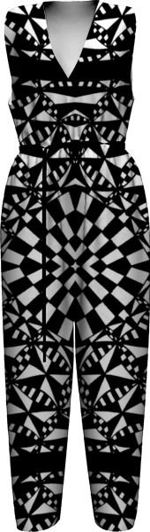 psychedelic-black-and-white-checks-2 WOMEN JUMPSUIT PAOM-VFS by kirstenstar
