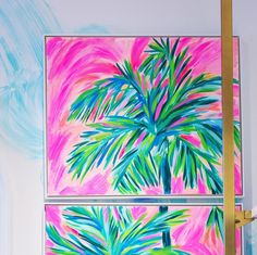 say HELLO to life under printed palms. Our store is now open. Come enjoy sips, savories & surprise gifts with purchase… Lily Pulitzer Painting, Lilly Pulitzer Prints, Pastel Watercolor, Flower Canvas, Coastal Art, Dot Painting, Beach Art, Art Lessons, Canvas Art