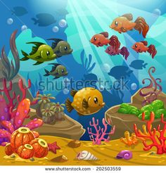 Underwater world, vector illustration