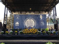 Commencement stage set up, 2013