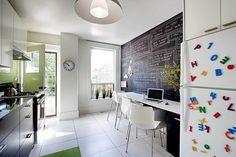 Contemporary kitchen design accent wall ideas:  chalkboard wall