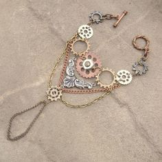 Rustic Steampunk Gear Layered Ring Slave Bracelet by ShambleRamble, $45.00