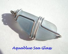 Wire Wrapped Sea Glass Blue Etsy