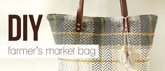 Great way to use old rugs or heavy fabrics!  DIY Farmer's Market Carpetbag |fromWhimseybox