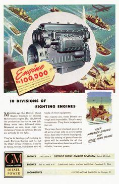 Detroit Diesel Division of GM in World War Two Bus Engine, Diesel Engine, Heavy Duty Trucks, Heavy Truck, Gm Trucks, Fire Trucks, Used Bus, Cylinder Liner, Landing Craft