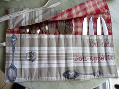 Range couverts en tissu couleur lin : Cuisine et service de table par aujardindemarie