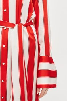 Topshop Stripe Silk Satin Shirt Dress by Boutique