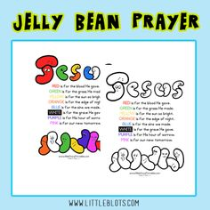 Jelly Beans make great resources when teaching children about salvation!  On Little Blots of Faith we have these fun printable poems you can share  with children, as well as MANY more links and resources for planning out an Easter Lesson!