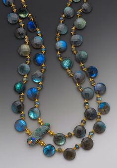 """Elle Schroeder's """"Blue Moon,"""" Australion boulder opal on a double-strand of top-drilled faceted labradorite coin beads with faceted labradorite rondelles & 18K accents"""