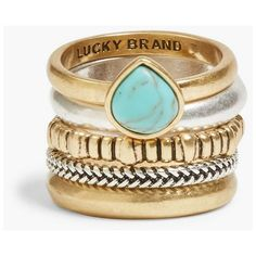 Lucky Brand Turquoise Ring Stack Set (€26) ❤ liked on Polyvore featuring jewelry, rings, medium grey, green turquoise ring, grey jewelry, green turquoise jewelry, lucky brand jewellery and turquoise rings