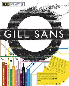 Gill Sans Underground poster, Arthur Eric Rowton Gill (Eric Gill) was an English sculptor, typeface designer, stonecutter and printmaker, who was associated with the Arts and Crafts movement. Poster Fonts, Type Posters, Typographic Poster, Rock Posters, Typography Letters, Graphic Design Typography, Graphic Design Illustration, Lettering, Sans Serif
