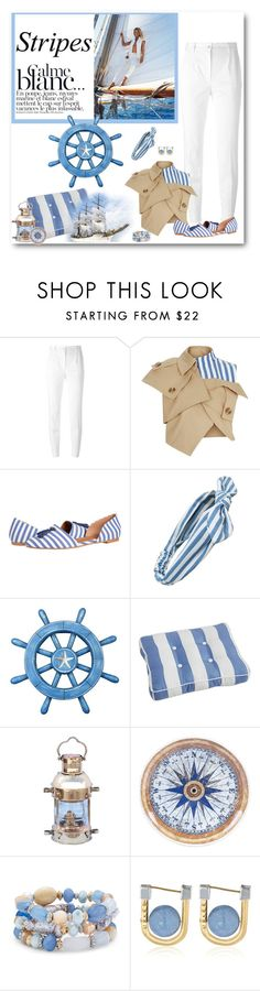 """Nautical Stripes"" by laaudra-rasco ❤ liked on Polyvore featuring Dolce&Gabbana, A.W.A.K.E., Southern Proper, Cara, Pier 1 Imports, Certified International, Chico's and URiBE"