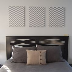 DIY wall decor - Chevron fabric covered canvases!