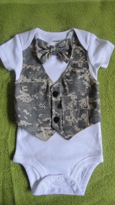 Baby boy military army onsie bow tie outfit vest photo by BDUSTY Baby Boy Outfits, Kids Outfits, Cute Outfits, Baby Boy Newborn, Baby Kids, Army Baby, Baby Sewing Projects, Sewing Ideas, Everything Baby