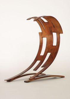 Bronze plated steel Tabletop Desktop Small Indoor Statuettes Figurines sculpture by artist Philip Melling titled: 'Wave IV (Modern bronze/Steel sculpture)'