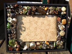 Handmade mosaic picture frame, embellished frame, 6x8