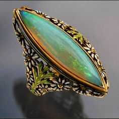 ART NOUVEAU  Superb floral Ring   Gold Enamel Opal  European, c.1900  Ring Case  The marquise precious opal 8 cts approx    Ref: 3510