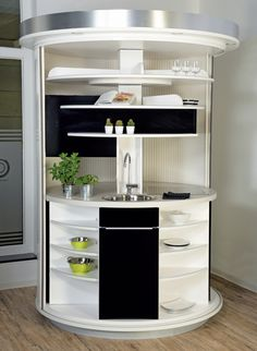 Drehbares Rundküchen Kompaktkonzept All in One, für Urbanes Wohnen