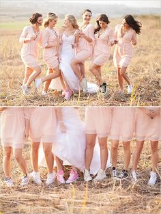 Long sleeve short pink bridesmaid dresses with all the ladies in converse. So cute!!