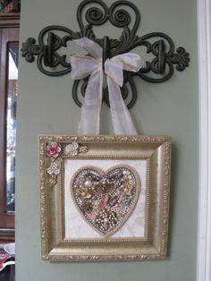 Vintage Jewelry Framed Christmas Tree Valentine's Day Heart Rhinestones