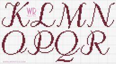 Alfabeto cursivo maiúsculo CHIQUE para ponto cruz