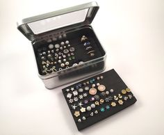 Tin Jewelry Box - Extra Insert - Earring Storage
